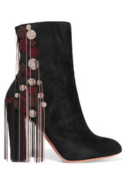 Chloé Liv beaded suede ankle boots
