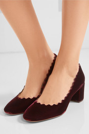 Lauren scalloped velvet pumps