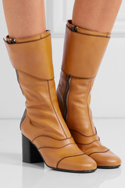 Paneled leather boots