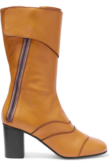 Chloé - Paneled Leather Boots - Mustard