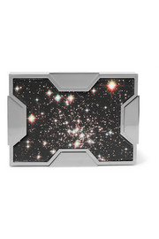 Space printed leather and gunmetal-tone clutch