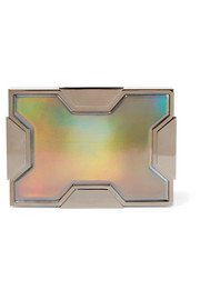 Space holographic leather and gunmetal-tone clutch