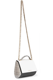 Pandora Box mini shoulder bag in watersnake-trimmed black and white textured-leather