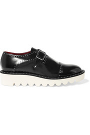 Odette studded faux glossed-leather brogues