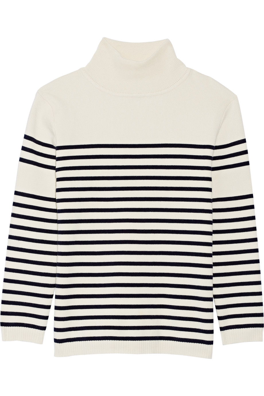 Striped Stretch-Cotton Turtleneck Sweater