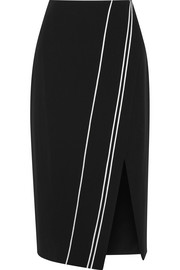 Wrap-effect satin-trimmed cady skirt