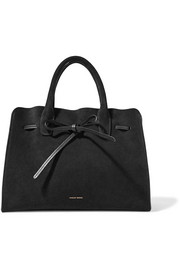 Sun leather-trimmed suede tote