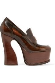 Maison Margiela Glossed-leather platform pumps