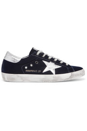Super Star distressed leather-paneled velvet sneakers