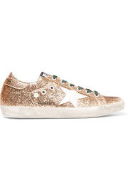 Super Star distressed glittered leather sneakers