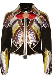 Cropped patchwork metallic leather jacket