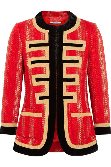 Givenchy - Velvet-trimmed Jacket In Red And Gold Tweed
