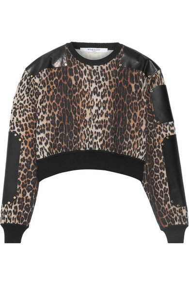 Givenchy - Cropped Leather-paneled Leopard-print Wool Sweater - Leopard print