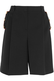 Velvet-trimmed shorts in black wool