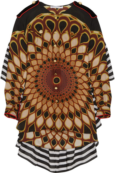 Givenchy - Printed Ruffled Shirt In Multicolored Silk-georgette - Brown