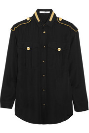 Givenchy Metallic-embroidered blouse in black silk-georgette