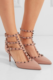 Valentino Rockstud textured-leather pumps