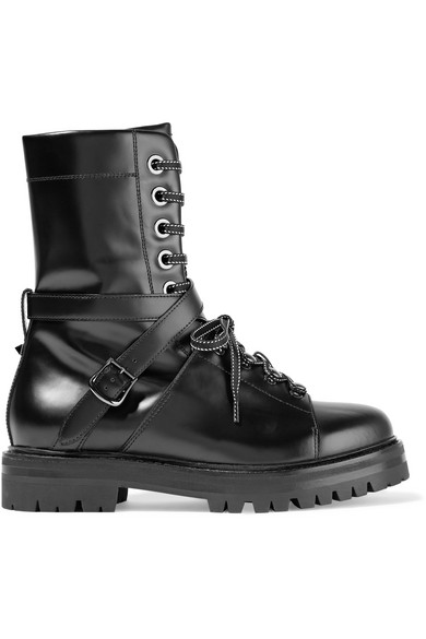 Valentino - Lace-up Leather Boots - Black