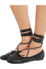 Valentino Chain-embellished cracked glossed-leather ballet flats