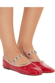 Rockstud patent-leather ballet flats