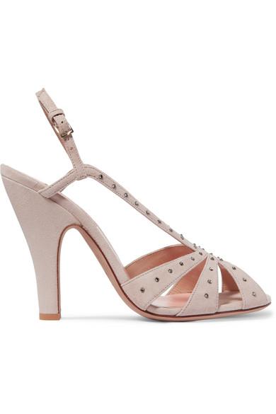 Valentino - Crystal-embellished Suede Slingback Sandals - Neutral