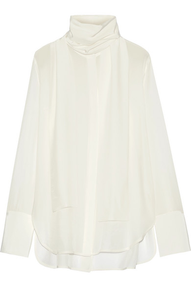 Ellery - Pussy-bow Silk-satin Blouse - Off-white