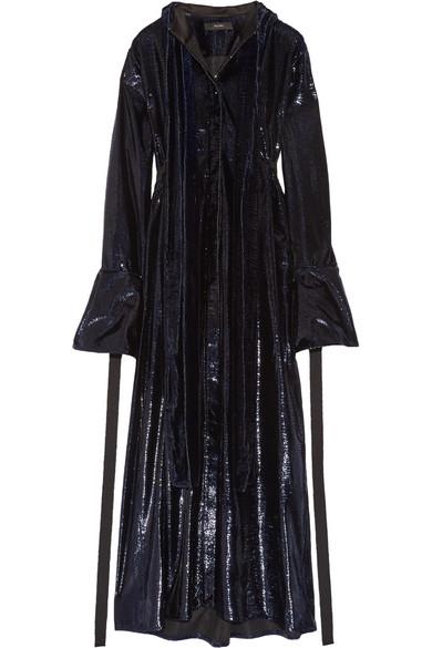 Ellery - Posture Pussy-bow Metallic Velvet Dress - Midnight blue