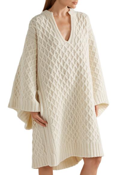 Chloé | Oversized cable-knit wool sweater dress | NET-A-PORTER.COM