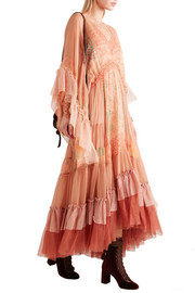Chloé Ruffled printed silk-mousseline and tulle maxi dress