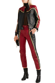 Paneled leather biker jacket