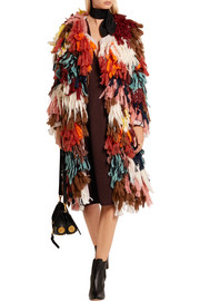 Chloé Fringed wool-blend and crochet-knit cotton cardigan