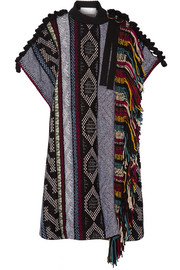 Fringed embellished wool-blend poncho