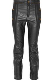 Chloé Nubuck-trimmed leather slim-leg pants