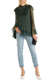 Ruffled silk-crepon turtleneck blouse