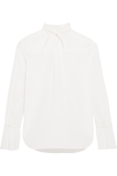 Chloé - Pussy-bow Silk Crepe De Chine Blouse - Ivory