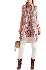 Embroidered striped linen and silk-blend tunic