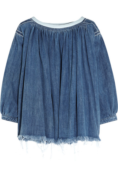 Chloé - Frayed Denim Top - Mid denim
