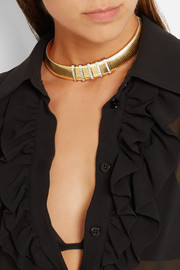Saint Laurent Gold and silver-tone crystal choker