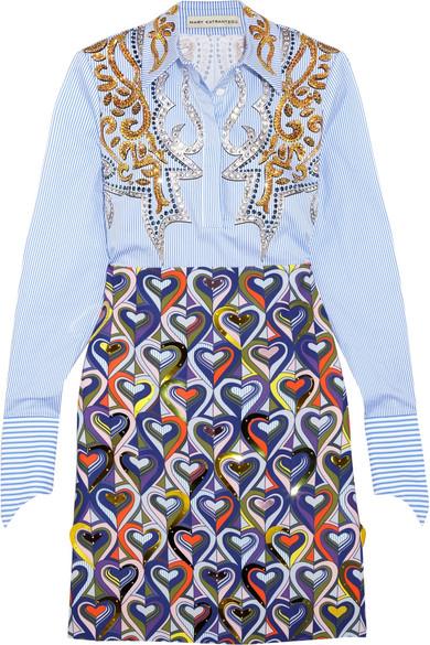 Mary Katrantzou - Montague Embellished Printed Cotton-blend Shirt Dress - Blue