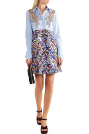 Mary Katrantzou Montague embellished printed cotton-blend shirt dress