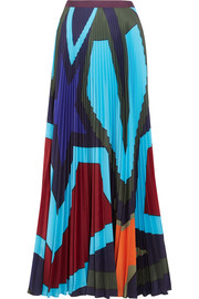 Pelar pleated printed crepe de chine maxi skirt