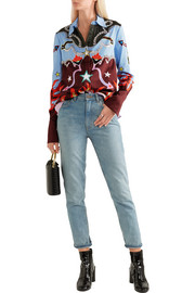Mary Katrantzou Shane crystal-embellished printed stretch-cotton shirt