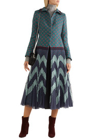 Mary Katrantzou Oliver jacquard and plissé-tulle coat