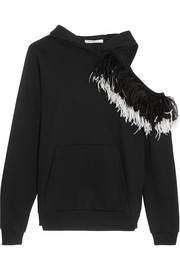 Hooded cutout feather-trimmed cotton-jersey sweatshirt