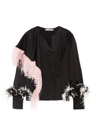 Christopher Kane Feather-trimmed crepe de chine blouse