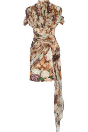 Christopher Kane Draped floral-print crepe and silk-georgette mini dress