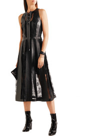 Christopher Kane Faux leather and lace midi dress