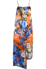 Christopher Kane Draped floral-print wool-satin dress