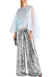 Metallic crushed-velvet wide-leg pants