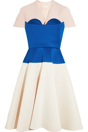DELPOZO Cape-effect color-block neoprene dress